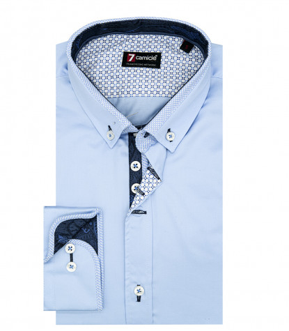 Camicia Uomo 1 Bottone Button Down Slim Satin Unito Celeste