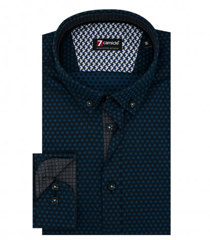 Camicia Uomo 1 Bottone Button Down Slim Jacquard Fantasia Nero/Blu Seaport