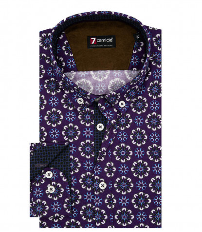 Camicia Uomo 1 Bottone Button Down Slim Superoxford Stampato Melanzana e Turchese