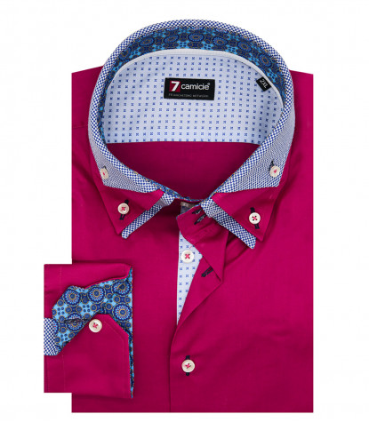 Camicia Uomo 2 Bottoni Button Down Triplo Collo Slim POPELINE STRETCH UNITO Fucsia