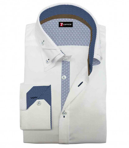Camicia Uomo 2 Bottoni Button Down Triplo Collo Slim Satin Unito Bianco