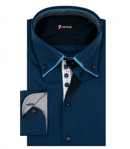 Camicia Marco Polo Satin Blu Seaport