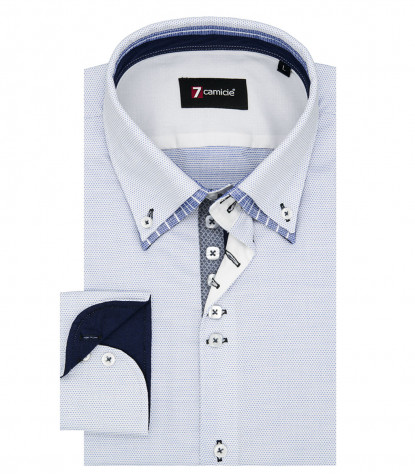Shirt Marco Polo jacquard White Light Blue