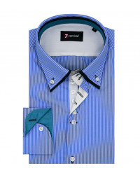 Shirt Marco Polo Cotton Light Blue White