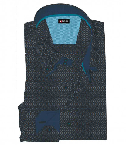 Shirt Marco Polo Poplin Black and Turquoise