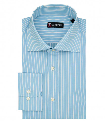 Florence Man Shirt 1 Button French Cotton Narrow Line Turquoise