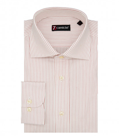 Florence Man Shirt 1 French Button Narrow Line White Red