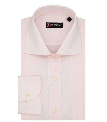 Florence Man Shirt 1 French Button Solid Cotton Pink