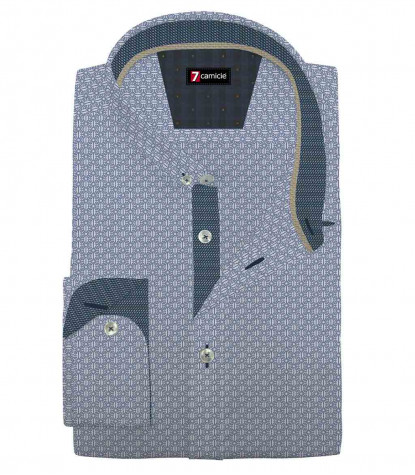 Camicia Uomo 1 Bottone Button Down Slim Super Oxford Stampato Bianco e Blu