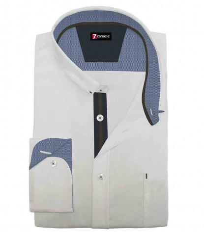 1 Button Italian Collar Slim Man Shirt Solid Jersey Cotton* White