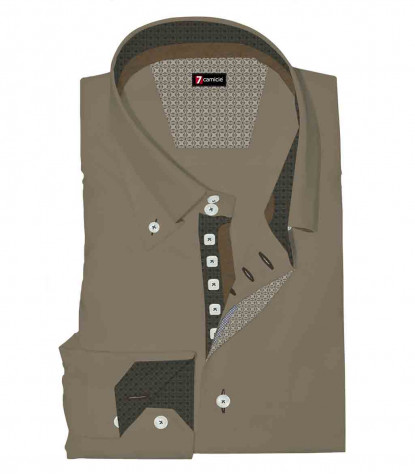 Camicia Uomo 2 Bottoni Button Down Slim Satin Unito Mastice