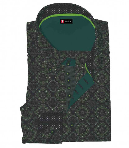 2 Buttons BDW Slim Man Shirt Printed Popeline Black\Light Green