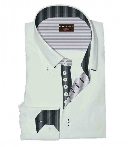 Camicia Uomo 2 Bottoni Button Down 7 Bottoni Slim Cotone Poliestere Unito Bianco