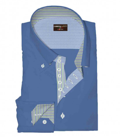 Camicia Uomo 2 Bottoni Button Down 7 Bottoni Slim Cotone Poliestere Oxford Blu Inchiostro