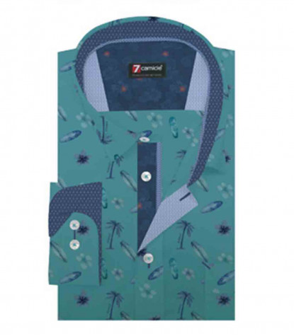 1 Button Soft Collar Man Shirt with Pocket Printed Color