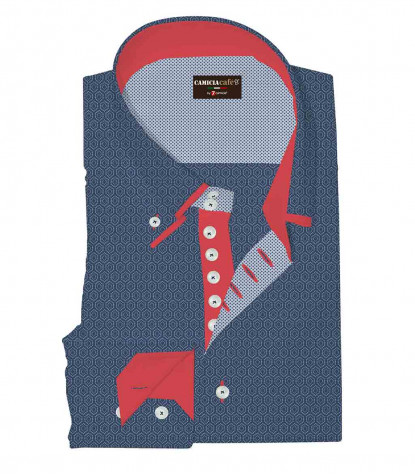 Camicia Uomo 2 Bottoni Button Down Doppio Collo 7 Bottoni Slim Cotone Poliestere Stampa Bluianco