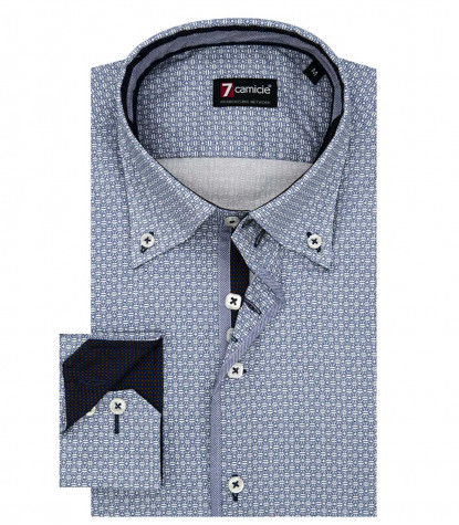 Shirt Roma Super oxford White and Blue