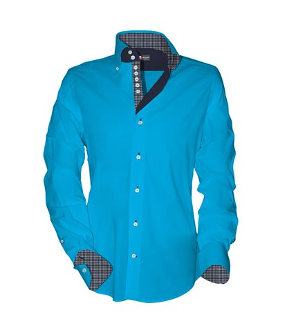 2 buttons button-down 7 buttons kid shirt Popeline Plain Turquoise