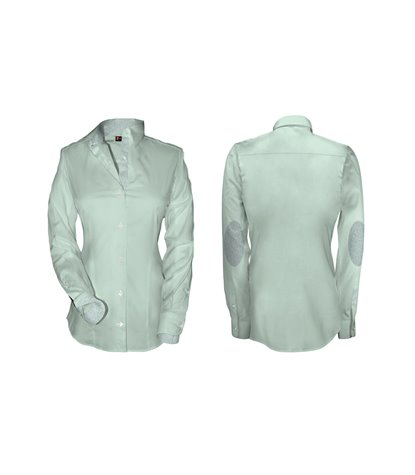 camicia donna 1 bottone collo italiano con toppe POPELINE STRETCH UNITO Verde Acqua