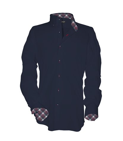 1 Button BDWN Regular Man Shirt Fil a Fil Plain Blu