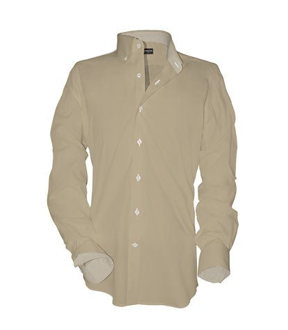 Camicia Uomo 1 Bottone Button Down Oxford unito Beige