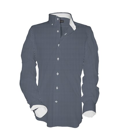 1 Button BDWN Regular Man Shirt Small Square Popeline Blue\White
