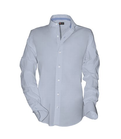 1 Button French Collar Slim Man Shirt Striped Woven* Light Blue\White