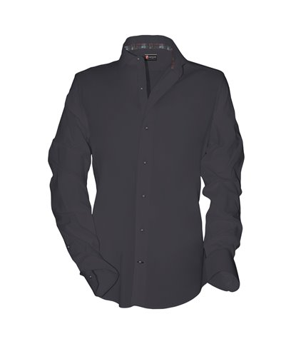 1 Button French Collar Slim Man Shirt Fil a Fil Plain Dark Grey