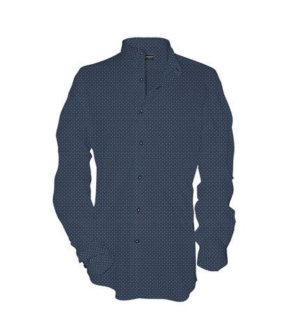 1 button italian collar slim man shirt Printed Chambray Blue\White