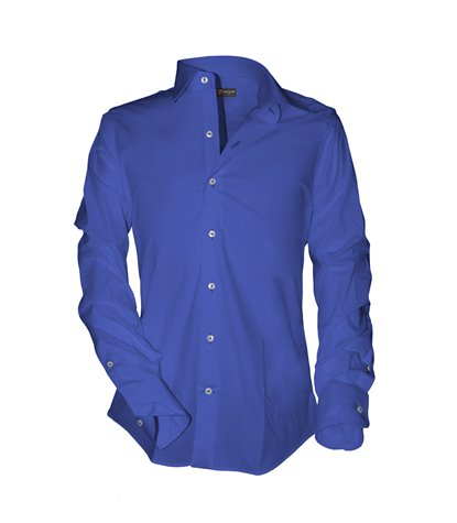 1 button italian collar man shirt slim fit Fil a Fil Plain Ink Blue