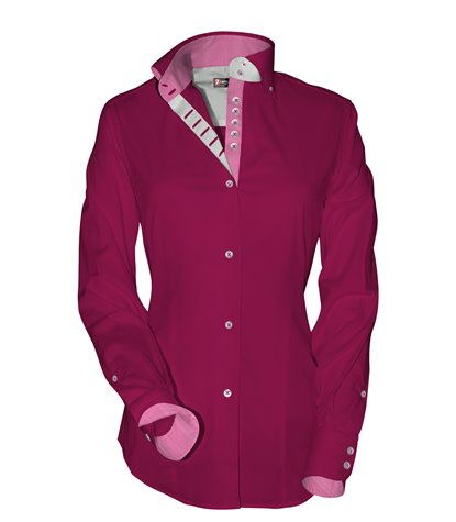 2 buttons button-down 7buttons slim woman shirt Popeline Plain Fuchsia