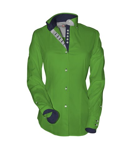 2 buttons button-down 7buttons slim woman shirt Popeline Plain Green