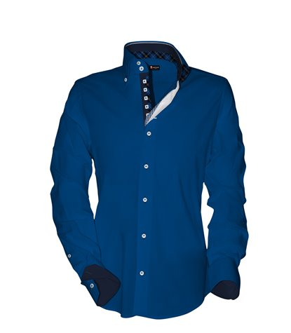 camicia uomo 2 bottoni button down slim Satin Unito Bluette