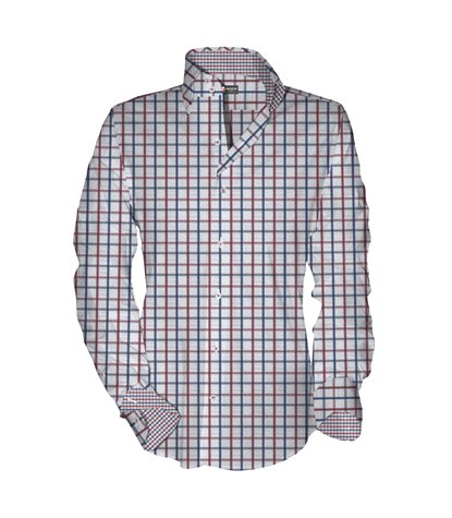 Camicia Uomo 2 Bottoni Button Down Slim Oxford Quadro grande Rosso/Blu
