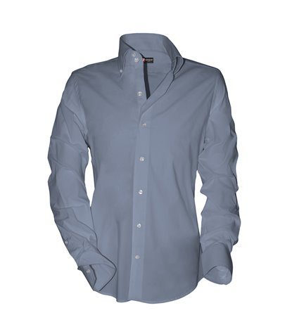 camicia uomo 2 bottoni button down slim fit Satin Unito Celeste