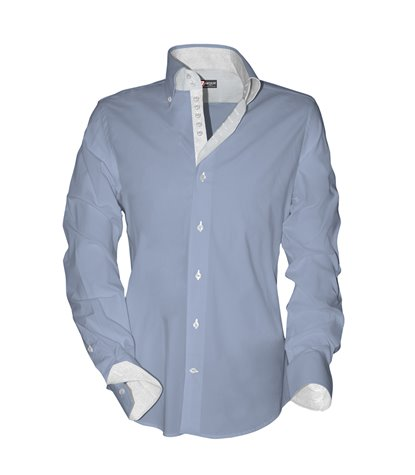 camicia uomo 2 bottoni button down 7 bottoni Popeline Unito Celeste