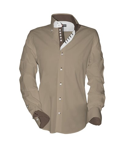 2 buttons button-down slim man shirt with 7 buttons Popeline Plain