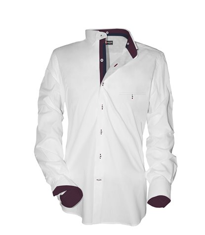 1 button soft collar man shirt Oxford Plain White