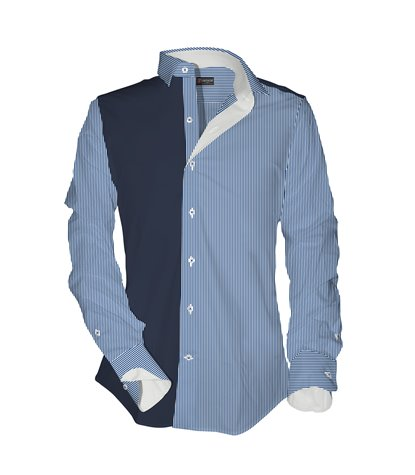 1 Button Soft Collar Man Shirt with Contrasts Popeline Striped
