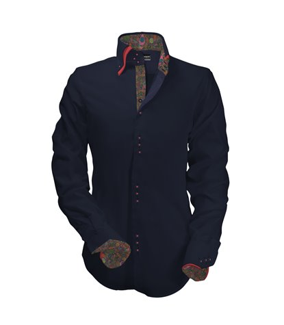 camicia uomo 3 bottoni button down doppio collo slim Satin Unito Blu