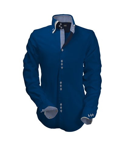 camicia uomo 3 bottoni button down doppio collo slim Satin Unito Bluette