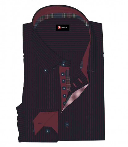 Camicia Uomo 2 Bottoni Button Down Slim Satin Riga Stretta Blu Bordeaux