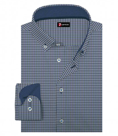 1 Button Button Down Slim Man Shirt Pied de Poule Jacquard