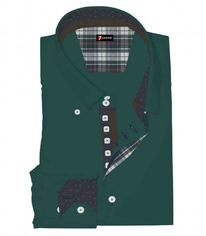 Camicia Uomo 2 Bottoni Button Down Slim Satin Unito Verde Scuro