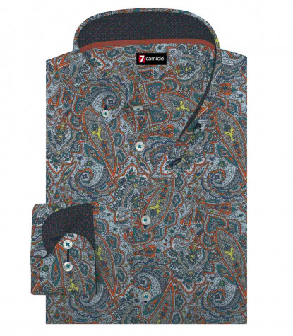 1 Button Button Down Slim Man Shirt Printed Popeline Sky Blue\Orange