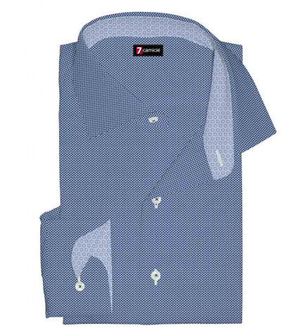 1 Button French Collar Slim Man Shirt Pattern Woven Blue\White