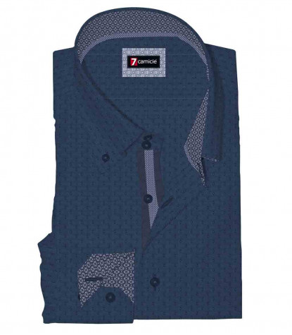 Camicia Uomo 2 Bottoni Button Down Slim Jacquard Fantasia Blu Chiaro