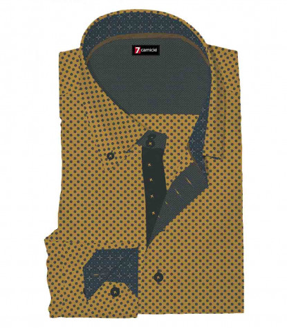 2 Buttons BDW Slim Man Shirt Printed Fancy Cotton Mustard and Dark Gray