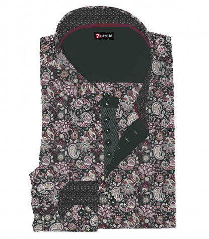 2 Buttons BDW Slim Man Shirt Printed Popeline Black/ Bordeaux