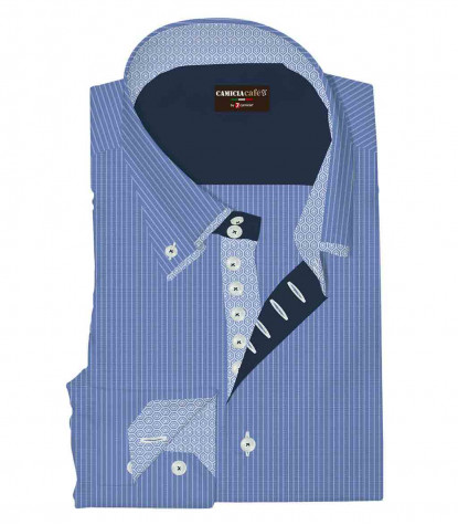 Camicia Uomo 2 Bottoni Button Down Doppio Collo 7 Bottoni Slim Cotone Poliestere Riga Media Celeste/Bianco